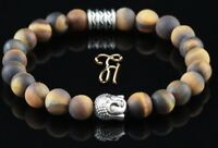 Tigerauge braun matt Armband Bracelet Perlenarmband Buddhakopf silber 8mm