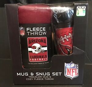 Arizona Cardinals NFL Mug Snug Gift Set Fleece Throw Travel Blanket Cup Football