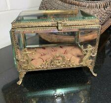French Wedding Casket or Jewelry Box Beveled Glass Gold Gilt Figural Ormolu