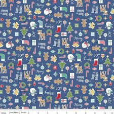 Riley Blake Cozy Christmas Fabric. Main in Navy. sold by the Fat Quarter