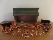 Antique Wooden Barn Toy with Outbuildings, Animals, People, Farm Equipment