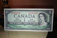 1954 Replacement $1 Dollar Bank of Canada Banknote *BM0540436 VF-EF
