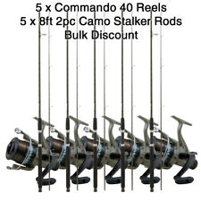 LOTE 5x Commando 40 Pesca En Agua Dulce Carretes + 1.5x2.4m Camuflaje STALKER