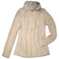 FLEECE JACKE Fleecejacke mit WEBPELZ KRAGEN Pullover beige Gr.36 38 S/M