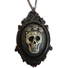 Black Sugar Skull w/ Rose Crown Cameo Necklace Day of the Dead Goth Alternative