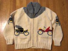 Vintage Handmade Wool Cowichan Sweater Model T Roadster Antique Car Cardigan