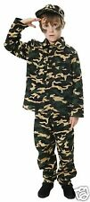 Boys Army Fancy Dress KIds Soldier Costume Military Armed Forces 10 11 12 Years