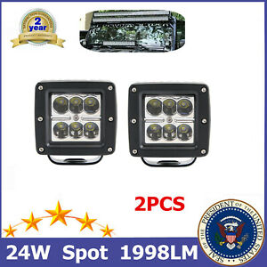 A Pair 24W Cube LED Work Light Lens fits Off-road Jeep 3inch Ford 12V 24V 16W