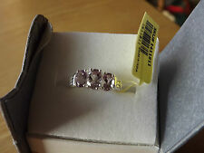 Rose De France Amethyst ring 3 stone ring in .925 SS - Size 8