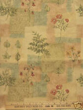 "Embossed Botanical Leaf Fern Floral Print Fabric Flowers Green Tan Cream 91"""
