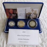 UK 2004 PIEDFORT SILVER PROOF 3 COIN SET - boxed/coa's