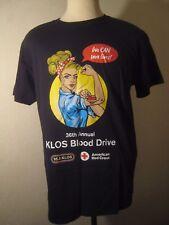 KLOS  36th Annual Blood Drive Black T Shirt Classic Rock 95.5 FM Radio Size L
