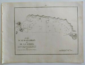 1858 Gauttier Carta Náutica Mapa Plano Puerto de Mazarrón La Azohía Isla Plana