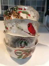 222Fifth Holiday Wishes Christmas Cardinal 4 New Cereal Bowls