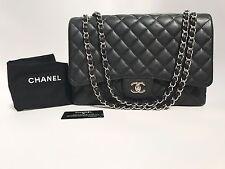 Auth Chanel Classic Single Flap Maxi Black Caviar Leather Bag SHW - Beautiful!