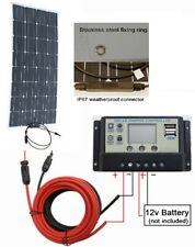 120w Flex Mono Solar Panel + 20A LCD Controller 2x USB +2m cable 12v Charger Kit