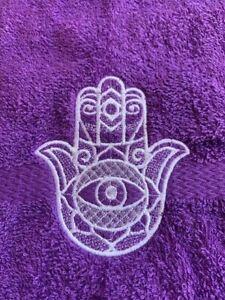 NEW PURPLE Bathroom Hand Towel lace  HAMSA Hand embroidered free ship