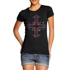 Women's Rhinestones Union Jack Cross Diamante T-Shirt