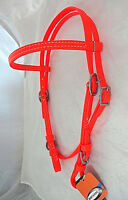 Beta BioThane Browband Buckle Headstall Horse Tack Berlin Custom Bright Orange