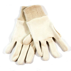 Northern Safety Off-White Cotton Work Gloves with Cuff Size Small (12 Pairs)
