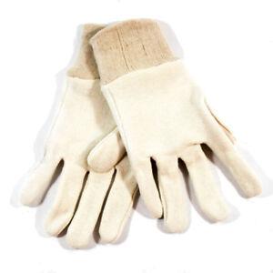 Northern Safety Off-White Cotton Work Gloves with Cuff Size Medium (12 Pairs)