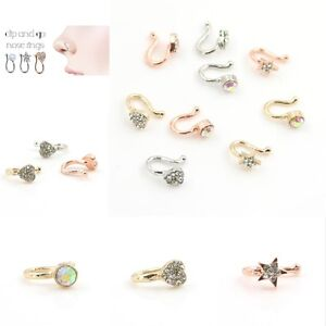 CZ Star Fake Nose Ring Hoop Septum Non No Piercing Rose Gold Steel Clip On
