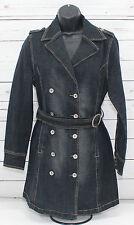 Women's Maurices Long Dark Denim Jean Jacket w/ Belt Size Small - Stretch