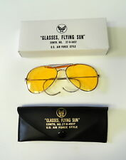 AIR FORCE STYLE AVIATOR'S AMBER SUNGLASSES W/CASE