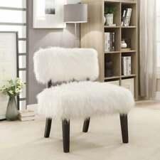 Furniture of America Lana Contemporary White Faux Fur Accent White Glam, Modern