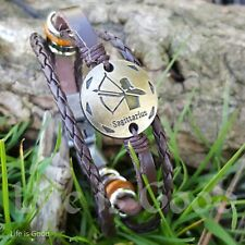 12 Constellation Zodiac Charm Leather Bangle Bracelet for Men and Women