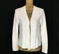 J Jill MED Cardigan Knit Sweater Linen Bl White Open Front Long Sl Stretch NICE