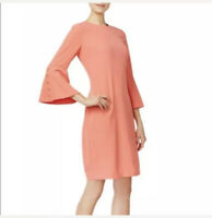 NWT Calvin Klein Womens Bell Sleeves Round Neck Sheath Dress Coral Size 6 $129