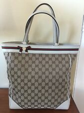 Auth GUCCI GG canvas tall MAYFAIR Ribbon TOTE  Handbag  Beige/brown EXCELLENT!!!