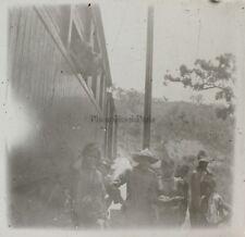 Train Seins nus Indo-Chine Photo Plaque de verre Stereo L19 Vintage c1910