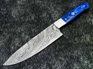 """12"""" Kitchen Chef Knife """"Handcrafted Damascus Steel Blade"""" Multi Purpose PS-34"""