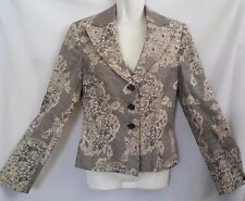 """""""APART"""" - Size 8 - Great Pre Loved - Black/White Cotton Paisley Lined Jacket"""