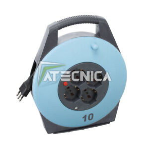 Cable Reel With Extension Electrical From 10 M Fervi A010/10 4 Inlets Schuko