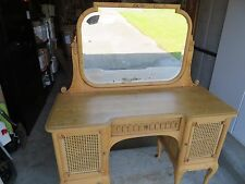 Antique Pine Vanity, with mirror and keyed center drawer.