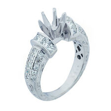 Platinum Diamond Engagement Ring Setting Semi Mount 0.75 ct Size 5  5.95 GRAMS