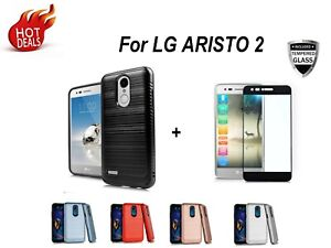 For LG Aristo 2/3/Plus/Phoenix 4 Shockproof Rugged Phone Case+Tempered Glass