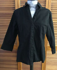 Riders Lee Instantly Slims You Shirt Large Black Button Stretch Top 3/4 Blouse