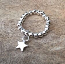 Silver Ball Beaded Stretch Ring Dangle Mini Star Charm ~ FREE P&P