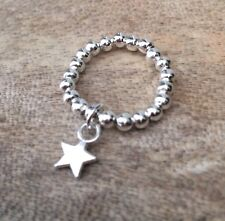 Palla D'Argento Anello Stretch Perline Dangle MINI STAR Ciondolo ~ GRATIS P&P
