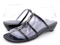 Stuart Weitzman Womens 7M Black Casual Slip On Comfort Studded Slide Sandals