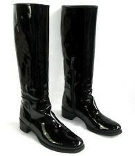 PRADA - Riding boots zip black leather patent 38 - MINT BOX DUST BAG