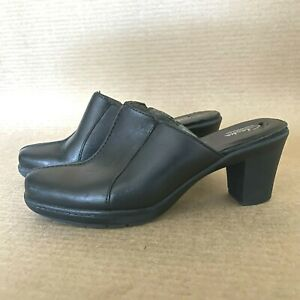 Clarks Bendables Mule Clog Womens Slip On Black Leather Size 6.5 Shoes