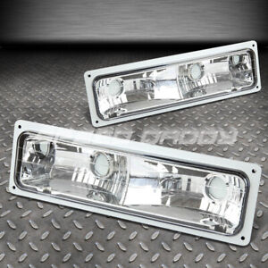 FOR 88-98 GMC SIERRA K1500/K2500/K3500 PAIR CHROME CRYSTAL LENS BUMPER LIGHTS
