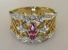 Di seconda mano 14ct Oro Giallo TWIN Ruby Multi Anello di diamanti Cluster dimensione N 1/2.
