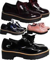 Womens Ladies  Lace Up Goth Punk Creepers Flat Platform Wedges Shoes Girl Boots
