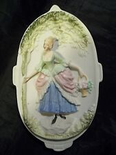 VINTAGE CHASE VICTORIAN WOMAN BISQUE PORCELAIN WALL HANGING OCCUPIED JAPAN NICE!
